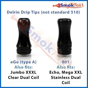 Drip tip - black delrin -for eGo-A, 801, Echo