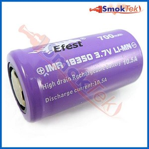 Efest Purple IMR18350 700mAh 3.7V 10.5A High Drain Battery - Flat Top