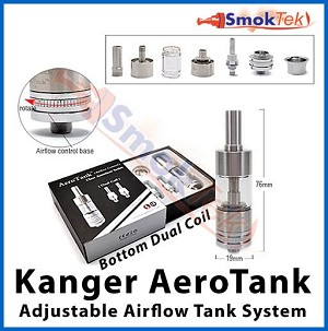 Kanger AeroTank, 2.5 ml Bottom Dual Coil, Pyrex (with airflow control)