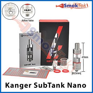 Kanger Subtank Nano, 3 ml Organic Cotton Coil, Pyrex (with airflow control)