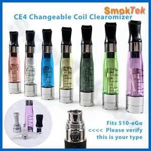CE4 Changeable Coil Clearomizer for 510/eGo, flat tip, 2.1-2.4 ohm (not Vision)