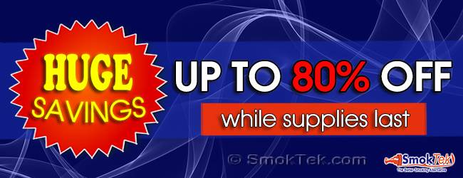 Discount e-cigarettes, e-cig supplies, accessories, e-liquids up to 80% off | SmokTek.com