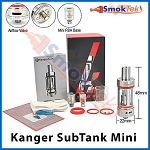 Kanger Subtank Mini, 4.5 ml Organic Cotton Coil, Pyrex (with airflow control)