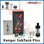 Kanger Subtank Plus, 7 ml Organic Cotton Coil, Pyrex (with airflow control) -Black