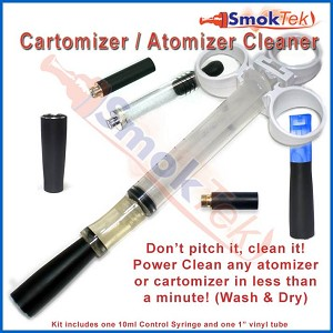 Cartomizer/Atomizer Cleaning Kit - With 10ml Control Syringe, Luer-lock compatible w/cleaning tubes and instructions